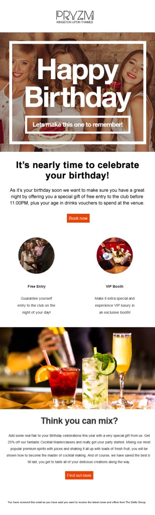 """""""Happy Birthday"""" Email Campaign"""