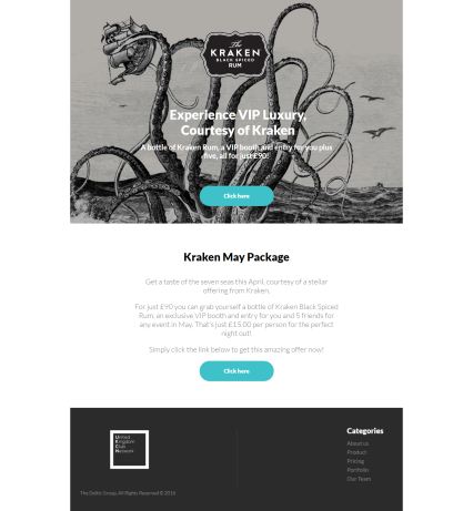Kraken Rum 'VIP Luxury' Email Design